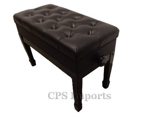 Adjustable duet size genuine leather artist piano bench in Ebony