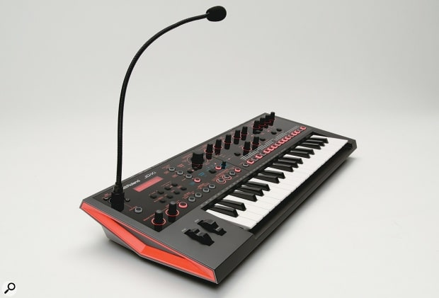 The Roland JD-XI synthesizer is a mini-synthesizer offering analog monosynth, dual digital synths, 808 style drum sequencing besides a digital effects section.